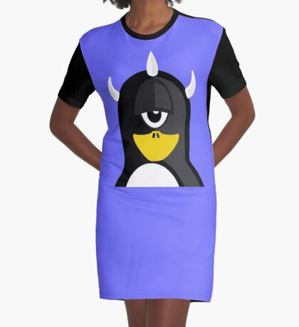 Penguin in Cyclops Costume  Graphic T-Shirt Dress