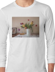 Yellow, Red And Purple Tulips Long Sleeve T-Shirt