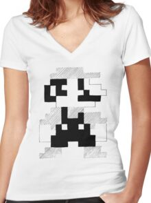 8 Bit Mario Women's Fitted V-Neck T-Shirt