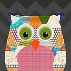 seaview beauty triangles owl (card) by Sharon Turner