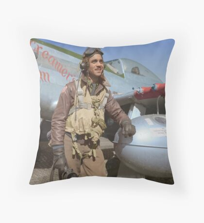 Edward C. Gleed Tuskegee airman — Colorized Throw Pillow