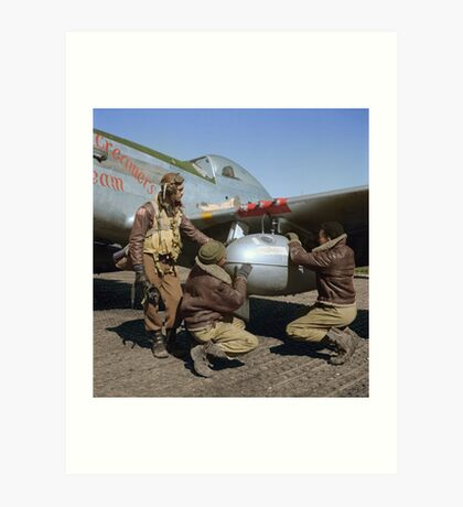 Edward C. Gleed and two other Tuskegee airman — Colorized  Art Print