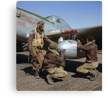 Edward C. Gleed and two other Tuskegee airman — Colorized  Canvas Print