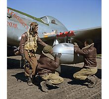 Edward C. Gleed and two other Tuskegee airman — Colorized  Photographic Print