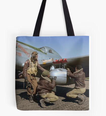 Edward C. Gleed and two other Tuskegee airman — Colorized  Tote Bag