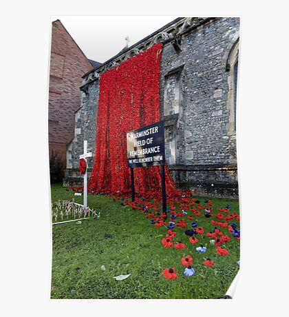 Warminster Town Hand-Knitted Poppies Poster
