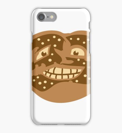 gesicht lustig horror monster comic cartoon brezel essen hunger lecker oktoberfest logo symbol cool design  iPhone Case/Skin