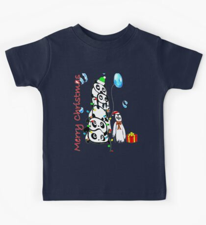 Kaz Art Creations Pandas & Penguin Christmas Kids Tee