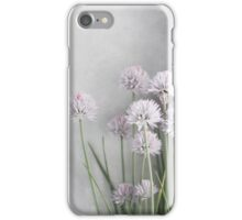 Lavender Flowers and Green Chives on Soft Gray iPhone Case/Skin