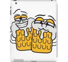 freunde team crew cool lustig gesicht lebendig comic cartoon durst logo bier krug saufen trinken party feiern spaßtrinken alkohol symbol cool shirt oktoberfest  iPad Case/Skin