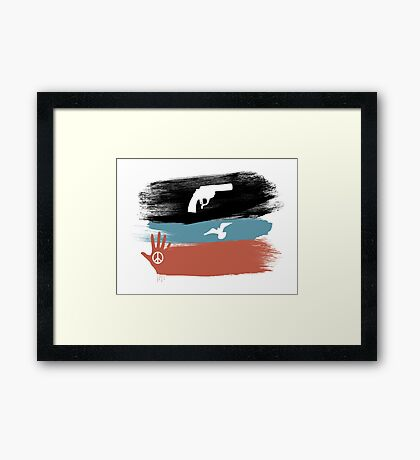 Guns and Peace - T-Shirt Framed Print