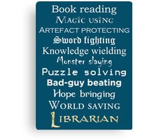 Librarian white text Canvas Print