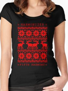 FIFTH HARMONY CHRISTMAS SWEATER KNITTED PATTERN Women's Fitted Scoop T-Shirt