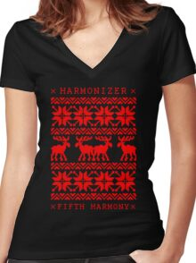 FIFTH HARMONY CHRISTMAS SWEATER KNITTED PATTERN Women's Fitted V-Neck T-Shirt