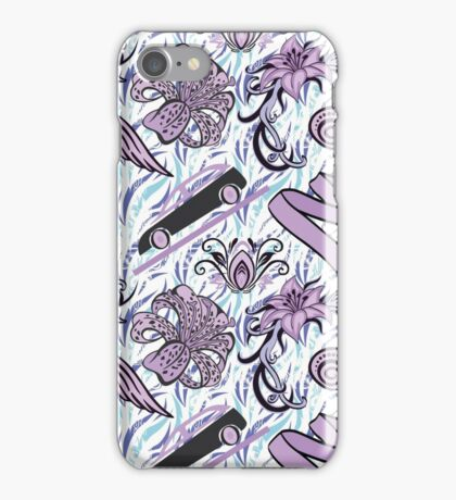pink, purple pattern. Floral texture hand painted lilies, the flowers, the cars, the curls. Seamless abstract pattern iPhone Case/Skin