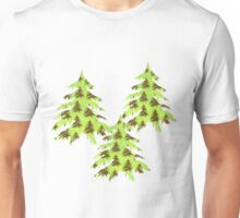 Sparkly Christmas tree on abstract green paper Unisex T-Shirt