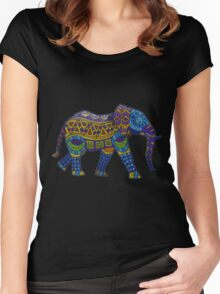 Colorful Elephant Women's Fitted Scoop T-Shirt