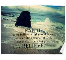Faith quote ocean waves Poster
