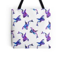 Bright watercolor galaxy pattern with orca Tote Bag