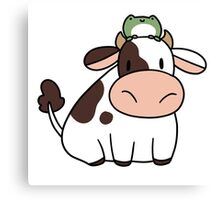 Cow and Frog Canvas Print
