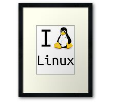 i love linux Framed Print