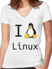 i love linux Women's Fitted V-Neck T-Shirt