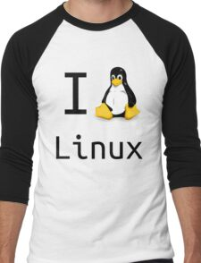 i love linux Men's Baseball ¾ T-Shirt
