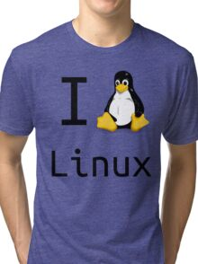 i love linux Tri-blend T-Shirt