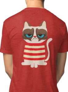 Grumpy Cat with Red Sweater Tri-blend T-Shirt