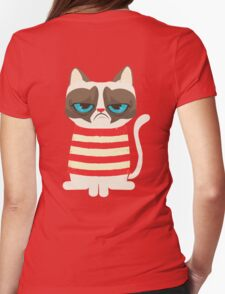 Grumpy Cat with Red Sweater Womens Fitted T-Shirt
