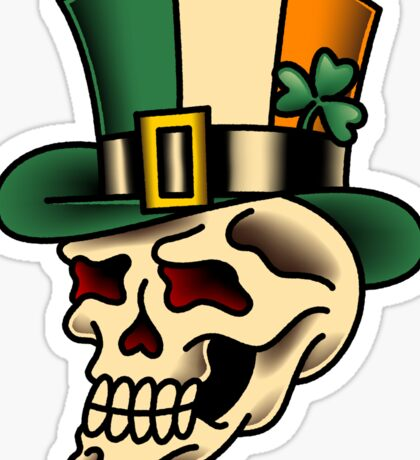 Traditional Irish Pride Skull Sticker