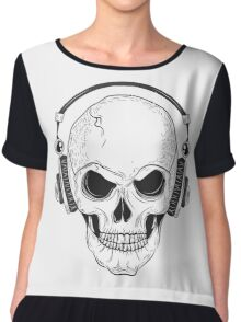 Skull with modern street style attributes Chiffon Top