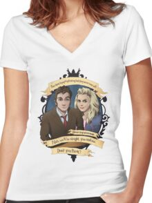 Rose and the 10th Doctor - Doctor Who Women's Fitted V-Neck T-Shirt