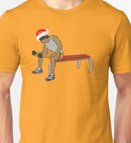 MAN WITH CHRISTMAS CAP IN THE GYM Unisex T-Shirt
