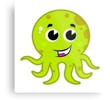 Cartoon octopus isolated on white : green Metal Print