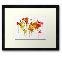 Red WATERCOLOR MAP Framed Print