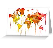 Red WATERCOLOR MAP Greeting Card