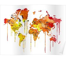 Red WATERCOLOR MAP Poster