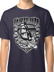 Nautical Vintage Sailor Old Ship in Big Seas Classic T-Shirt