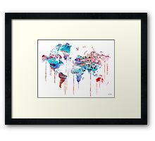 Blue WATERCOLOR MAP Framed Print