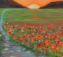 Blazing Sunset Poppy Field Wall Art original oil painting Sticker