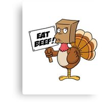 Funny Eat Beef Turkey Woble Thanksgiving Christmas Gift T-Shirt Canvas Print