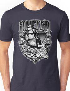 Nautical Vintage Skipper Old Ship in Big Waves Unisex T-Shirt