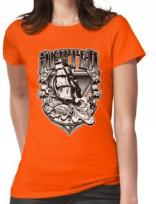 Nautical Vintage Skipper Old Ship in Big Waves Womens Fitted T-Shirt