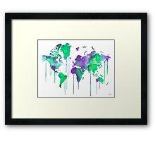 Green WATERCOLOR MAP Framed Print