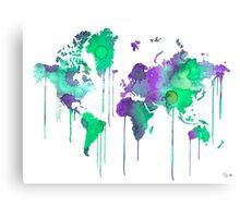 Green WATERCOLOR MAP Canvas Print