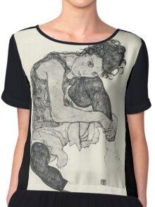 Egon Schiele - Zeichnungen I. 1917  Expressionism Woman Portrait Chiffon Top