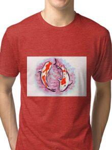 Watercolor painting of koi fish in water Tri-blend T-Shirt