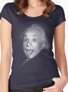 Albert Einstein Genius Tongue Funny Women's Fitted Scoop T-Shirt
