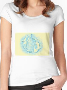 Watercolor painting of koi fish in water Women's Fitted Scoop T-Shirt